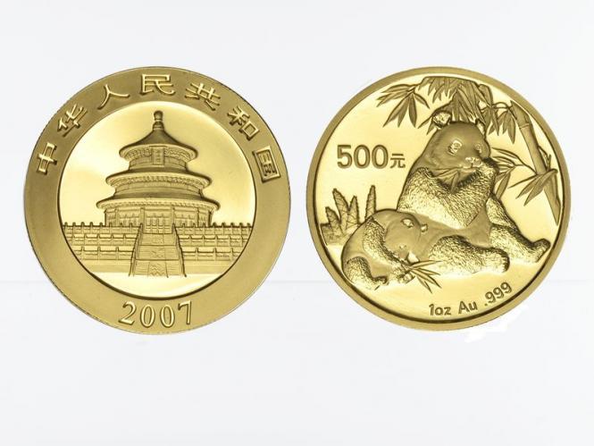 China 500 Yu  Panda 2007, 1 Unze Feingold