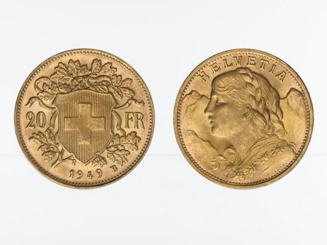 Schweiz 20 Franken Vreneli Goldmünze 1949