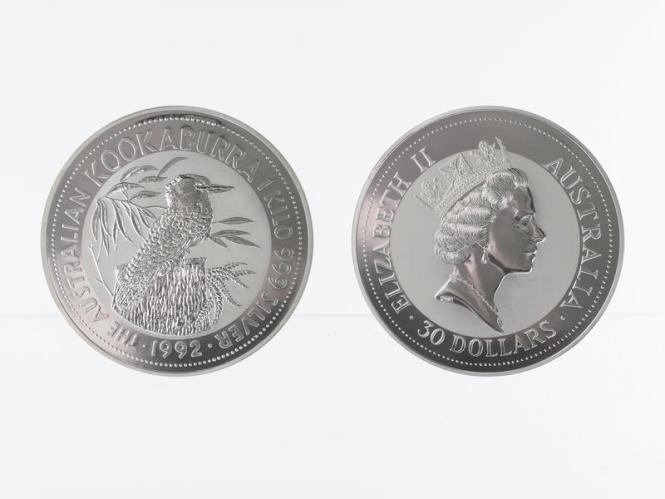 Australien 30$ Kookaburra 1992, 1 Kilo Kg  Silber,