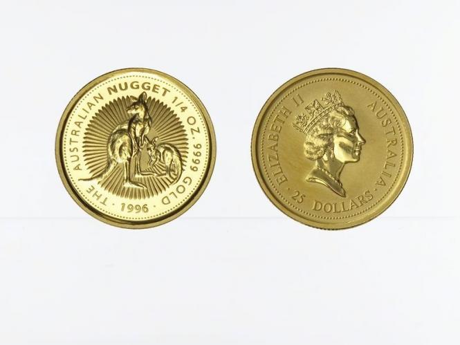Australien 25 $ Nugget Känguru, 1/4 Unze  1996
