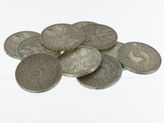 BRD 5 DM Kursmünzen 1951-74 (10)