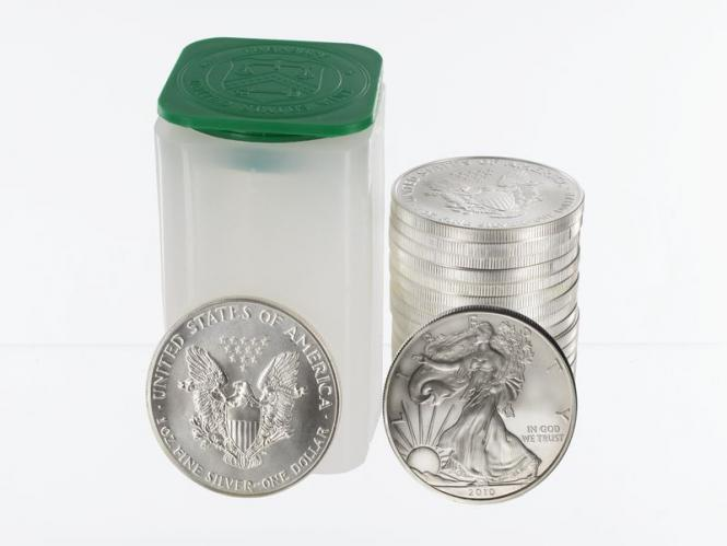 USA  1 $ Silver Eagle, 2010 Tube,  20 x 1 Unze,