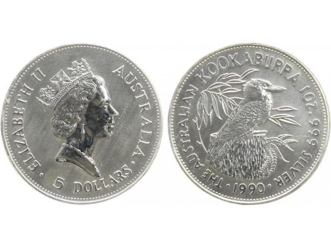 Australien 5$ Kookaburra 1990, 1 oz  Silber