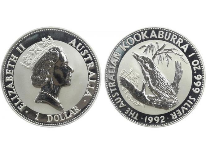Australien 1$ Kookaburra 1992, 1 oz  Silber