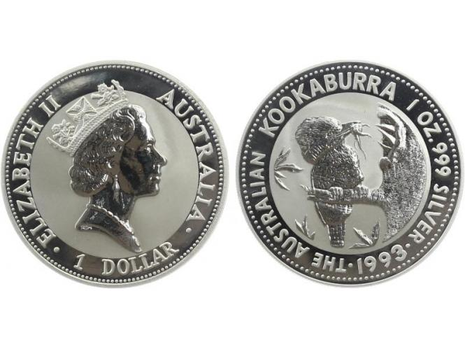 Australien 1$ Kookaburra 1993, 1 oz  Silber