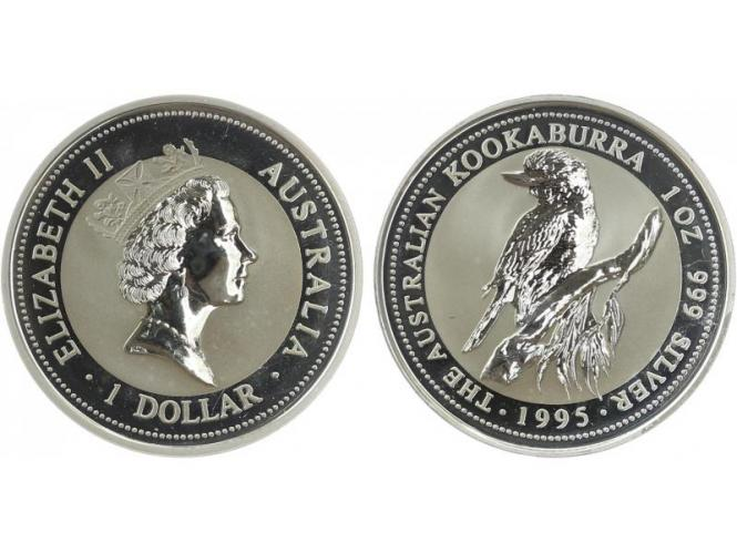 Australien 1$ Kookaburra 1995, 1 oz  Silber