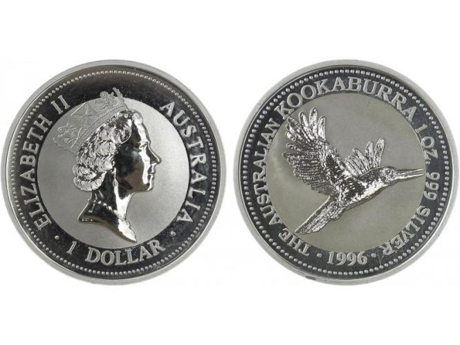 Australien 1$ Kookaburra 1996, 1 oz  Silber