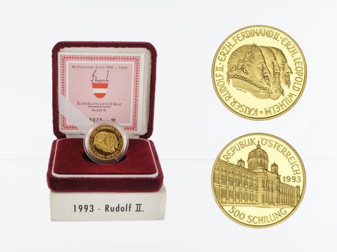 Österreich 500 Sh. Gold, 1993, Rudolf II.
