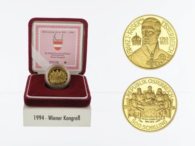 Österreich 500 Sh. Gold, 1994, Wiener Kongress