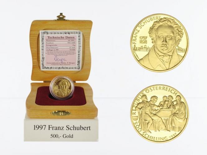 Österreich 500 Sh. Gold, 1997, Franz Schubert