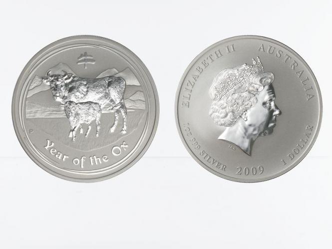 Australien 1$ Ochse Lunar II  2009, 1 oz  Silber