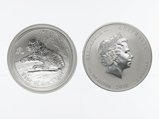 Australien 1$ Tiger Lunar II  2010, 1 oz  Silber