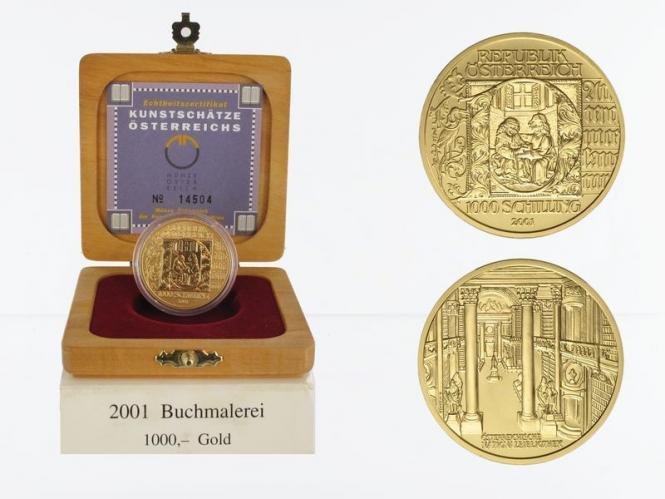 Österreich 1000 Sh. Gold, 2001, Buchmalerei,
