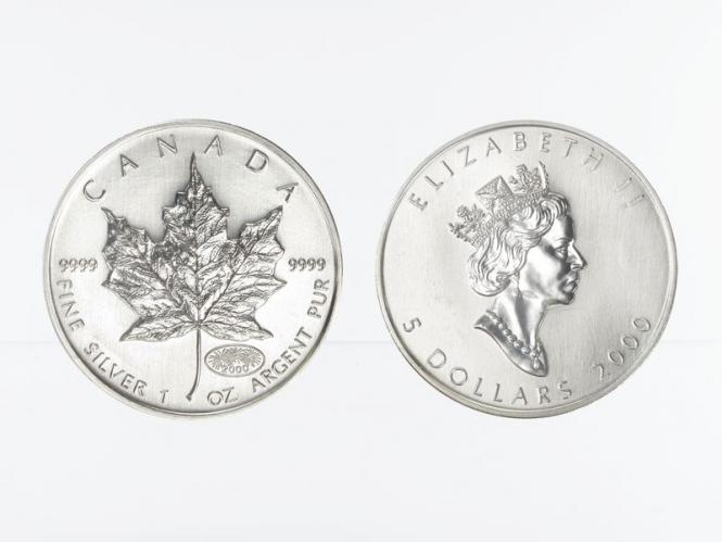Kanada 5$ Maple Leaf 2000, Privy Mark  Feuerwerk