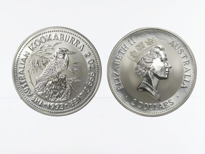 Australien 2$ Kookaburra 1993, 2 oz  Silber