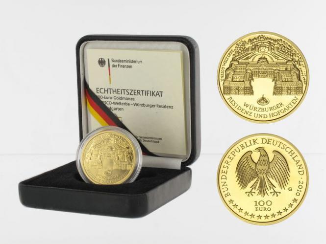 BRD 100 Euro Gold, 2010 J, Würzburg, original