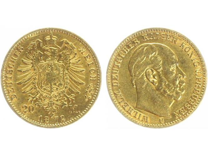 Preussen, 20 Mark Gold, Wilhelm I, 1872 C , Jg. 243