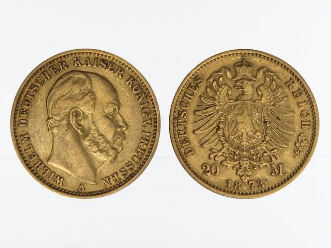 Preussen, 20 Mark Gold, Wilhelm I, 1873 A , Jg. 243