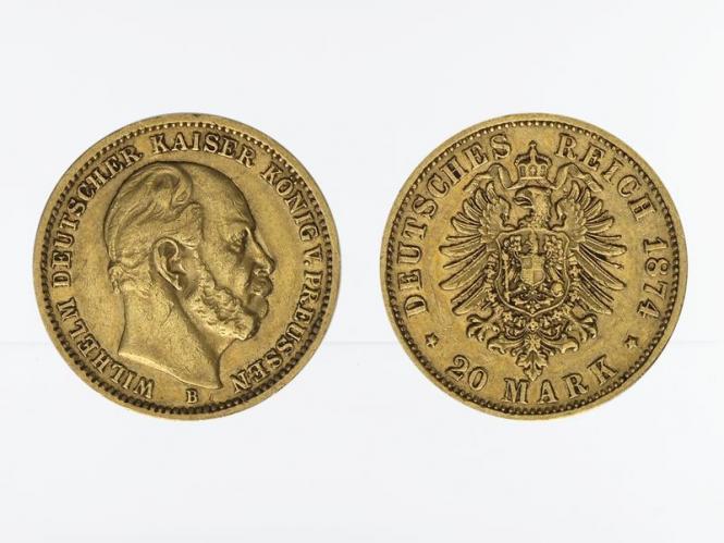 Preussen, 20 Mark Gold, Wilhelm I, 1874 B , Jg. 246