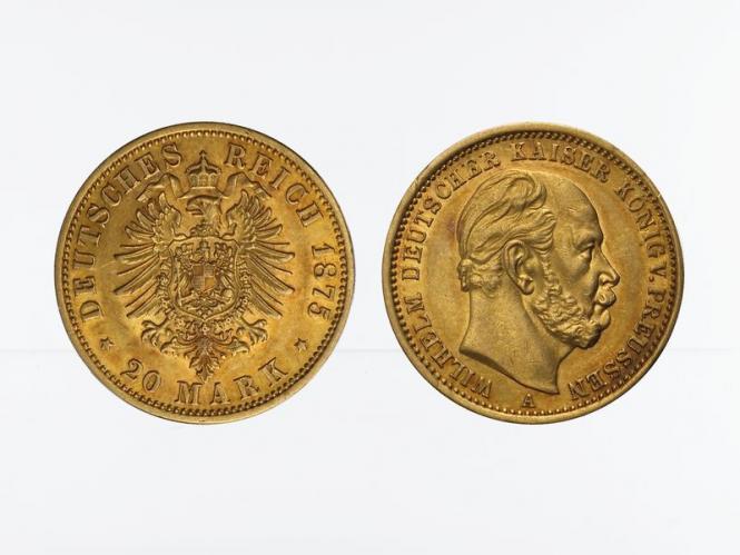 Preussen, 20 Mark Gold, Wilhelm I, 1875 A , Jg. 246