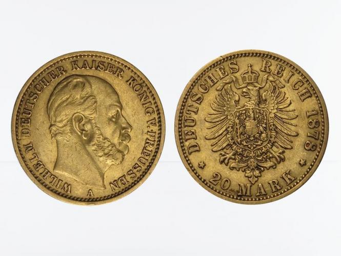 Preussen, 20 Mark Gold, Wilhelm I, 1878 A , Jg. 246