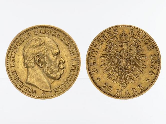 Preussen, 20 Mark Gold, Wilhelm I, 1884 A , Jg. 246