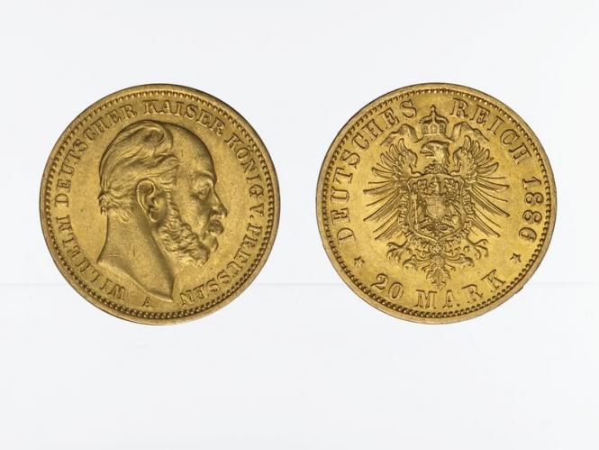 Preussen, 20 Mark Gold, Wilhelm I, 1886 A , Jg. 246
