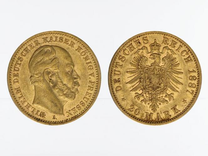 Preussen, 20 Mark Gold, Wilhelm I, 1887 A , Jg. 246