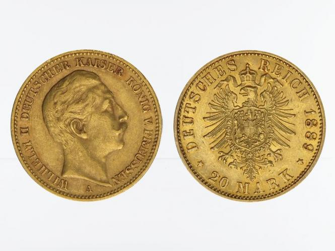 Preussen, 20 Mark Gold, Wilhelm II, 1889 A , Jg. 252