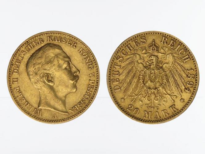 Preussen, 20 Mark Gold, Wilhelm II, 1894 A , Jg. 252