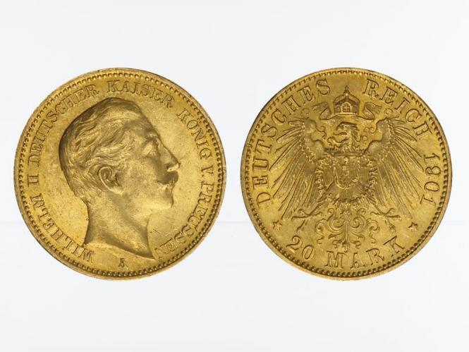 Preussen, 20 Mark Gold, Wilhelm II, 1901 A , Jg. 252