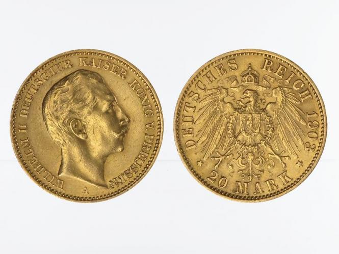 Preussen, 20 Mark Gold, Wilhelm II, 1903 A , Jg. 252