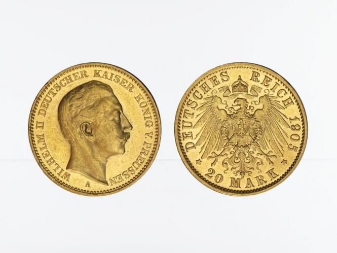 Preussen, 20 Mark Gold, Wilhelm II, 1905 A , Jg. 252