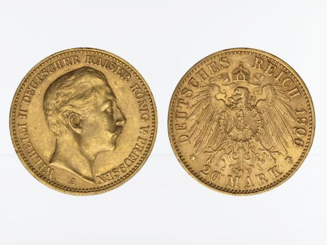 Preussen, 20 Mark Gold, Wilhelm II, 1906 A , Jg. 252