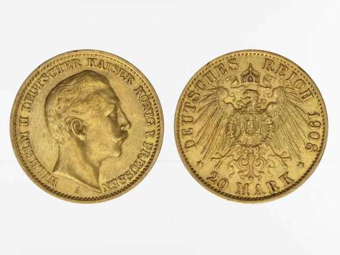 Preussen, 20 Mark Gold, Wilhelm II, 1908 A , Jg. 252
