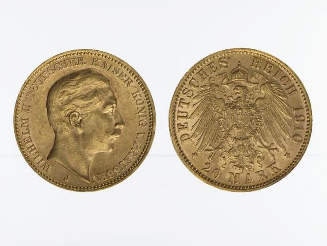Preussen, 20 Mark Gold, Wilhelm II, 1910 J , Jg. 252