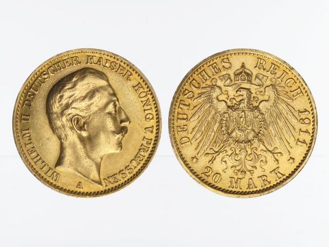 Preussen, 20 Mark Gold, Wilhelm II, 1911 A , Jg. 252