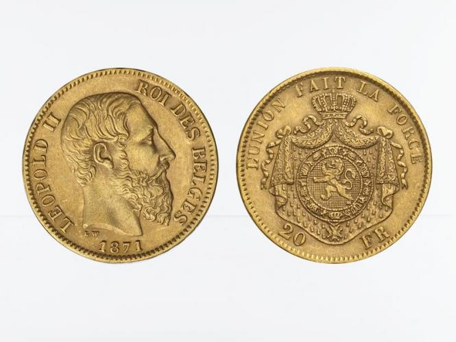 Belgien Leopold II  1871, 20 Francs Gold (A)