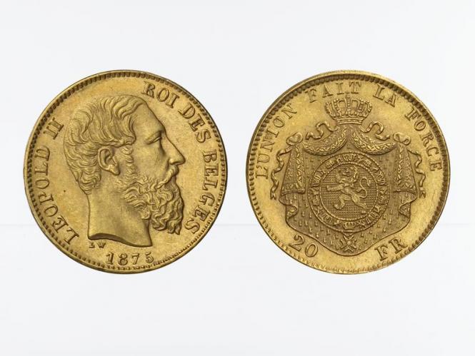 Belgien Leopold II  1875, 20 Francs Gold