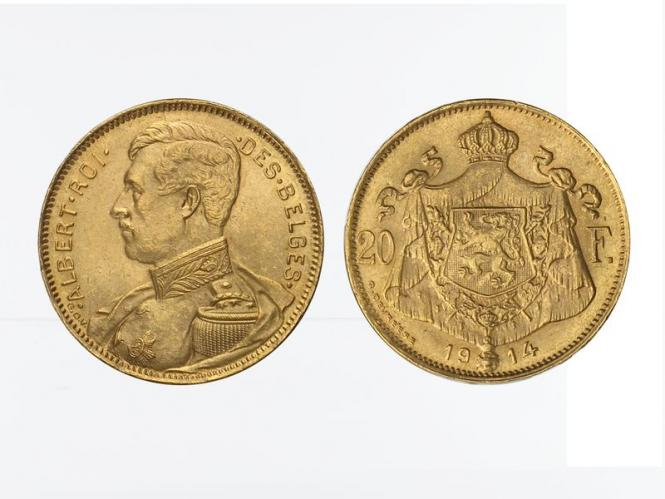Belgien Albert  1914, 20 Francs Gold