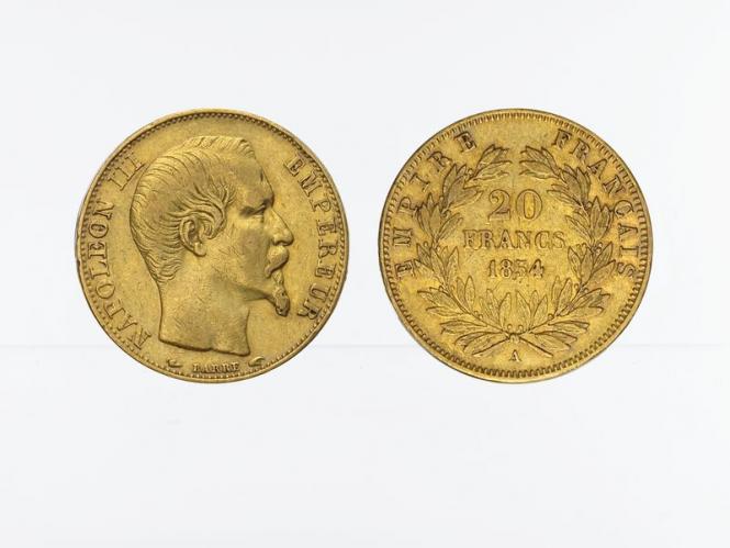 Frankreich 20 Fr. Napoleon III/ Kranz 1854 (A) Paris