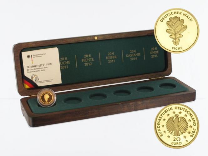 BRD 20 Euro Gold, 2010 F,  Deutscher Wald Eiche