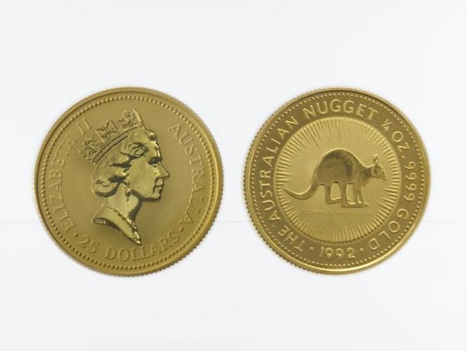 Australien 25 $ Nugget Känguru, 1/4 Unze  1992