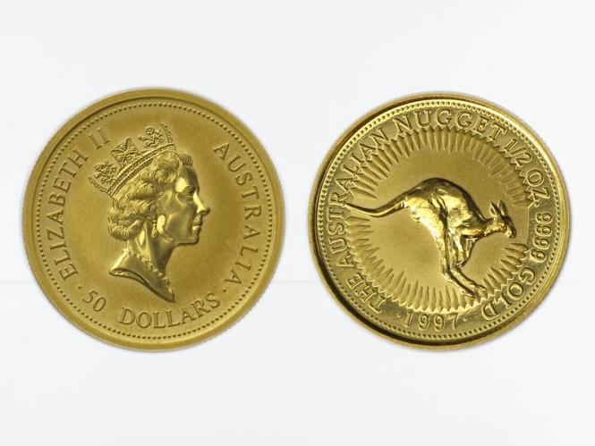 Australien 50 $ Nugget Känguru, 1/2 Unze  1997