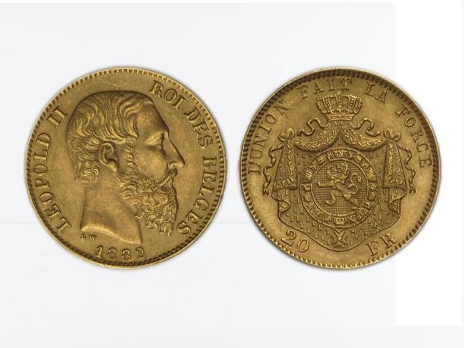 Belgien Leopold II  1882, 20 Francs Gold