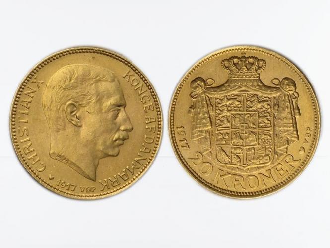 Dänemark Christian X  1917, 20 Kroner Gold