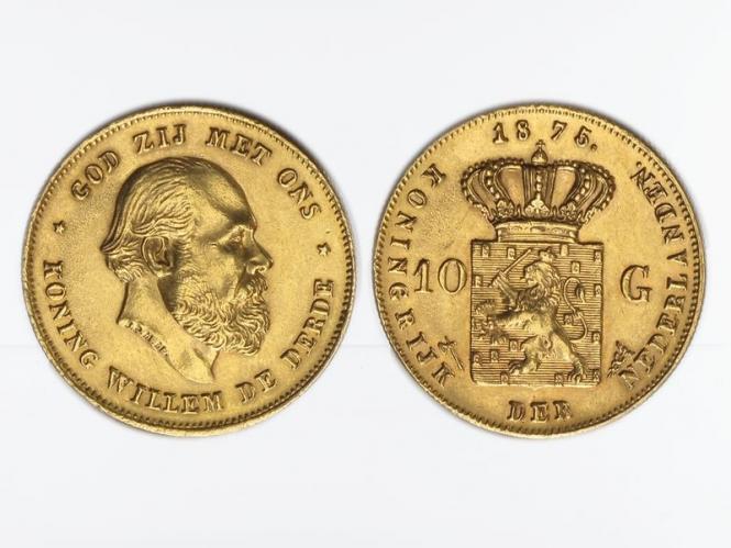 Niederlande 10 Gulden Gold König Willem III. 1875