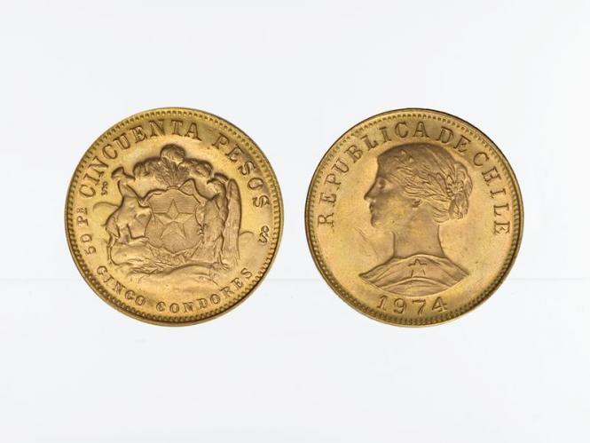 Chile 50 Pesos Freiheitskopf 1974