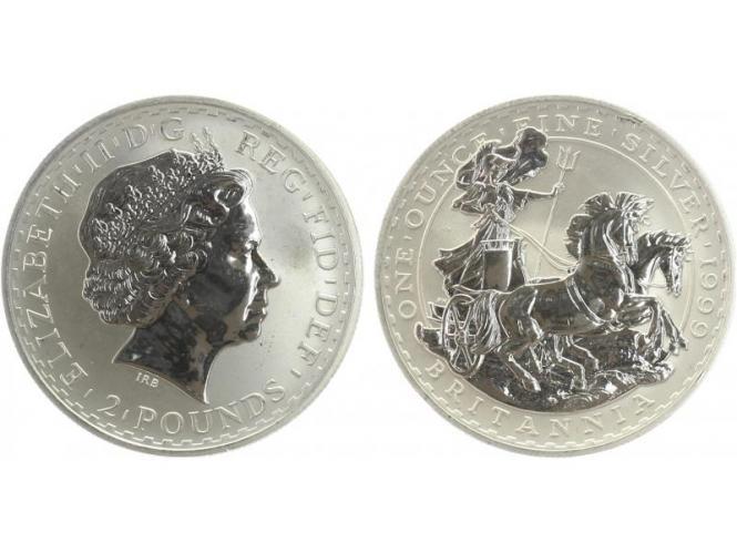 GB 2 Pfd. Silber Britannia 1999, 1 oz