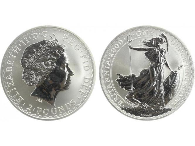 GB 2 Pfd. Silber Britannia 2000, 1 oz